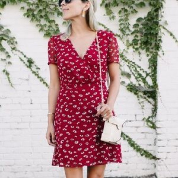 66fc976779a Madewell Dresses   Skirts - Madewell Seattle Floral Wrap Front Red Dress ...